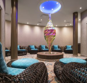 HM, Harmony of the Seas, Relaxation Room, Deck 6 Forward, Vitality Spa, wicker easy chairs, hassocks, comfortable, comfort, relax, art, artwork, sculpture,